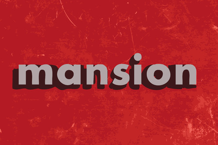 mansion: mansion vector word on red concrete wall Illustration