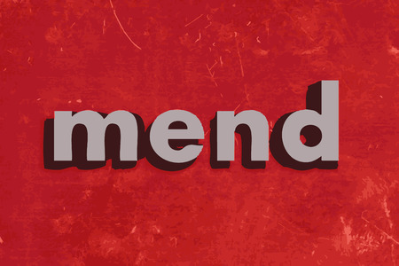 mend: mend vector word on red concrete wall Illustration