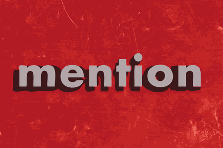 mention: mention vector word on red concrete wall
