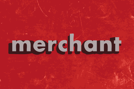 merchant: merchant vector word on red concrete wall Illustration