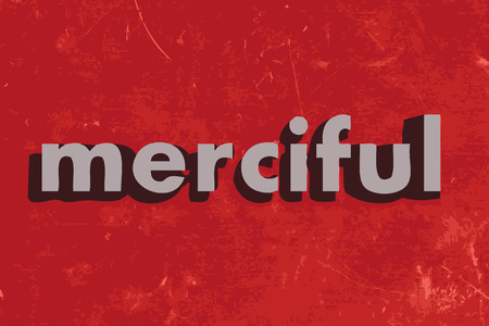 merciful: merciful vector word on red concrete wall