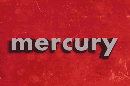 mercury: mercury vector word on red concrete wall Illustration