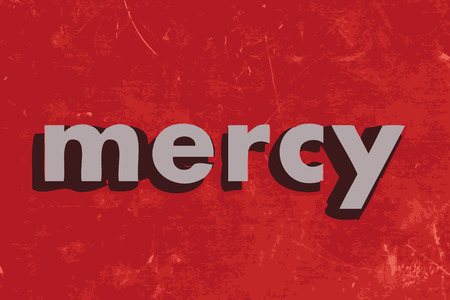 mercy: mercy vector word on red concrete wall