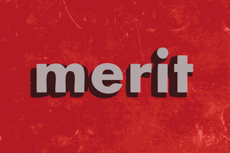 merit: merit vector word on red concrete wall
