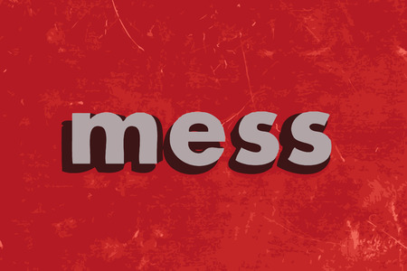 mess: mess vector word on red concrete wall