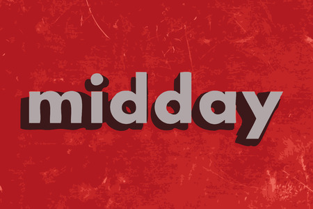 midday: midday vector word on red concrete wall