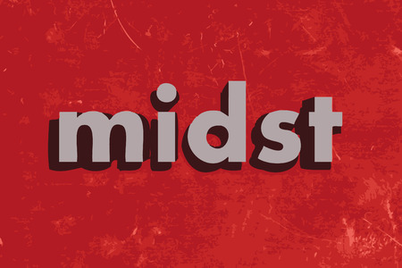 midst: midst vector word on red concrete wall Illustration