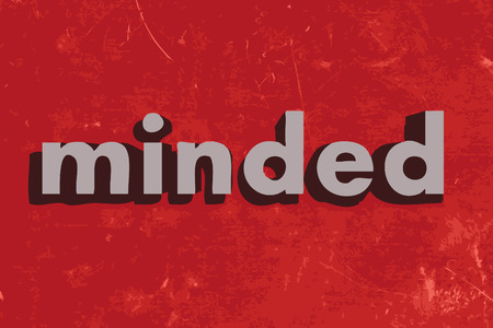 minded: minded vector word on red concrete wall
