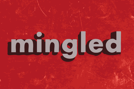 mingled: mingled vector word on red concrete wall Illustration