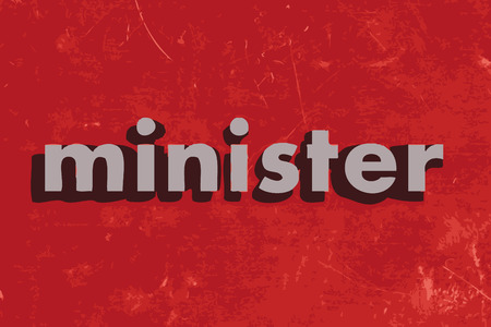 minister: minister vector word on red concrete wall