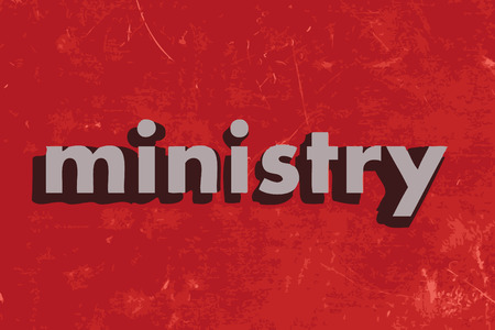 ministry: ministry vector word on red concrete wall