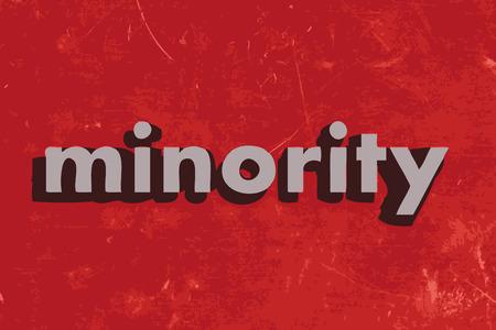 minority: minority vector word on red concrete wall Illustration