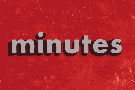 minutes: minutes vector word on red concrete wall
