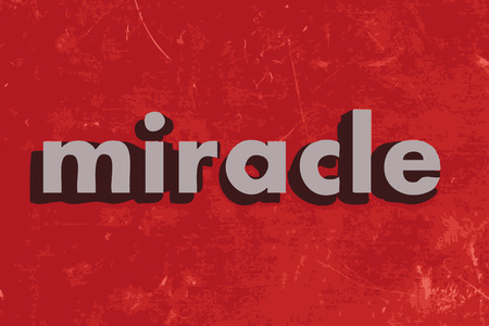 miracle: miracle vector word on red concrete wall Illustration
