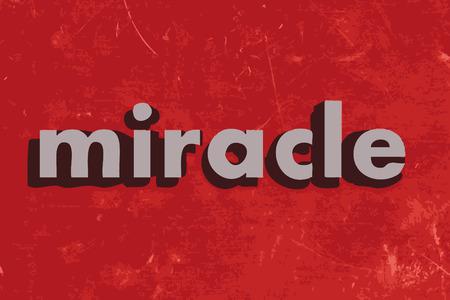 milagre: vector palavra milagre no muro de cimento vermelho Ilustração