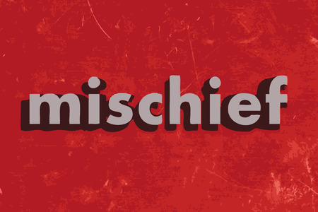 mischief: mischief vector word on red concrete wall Illustration