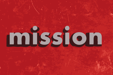 �mission: mission vector word on red concrete wall