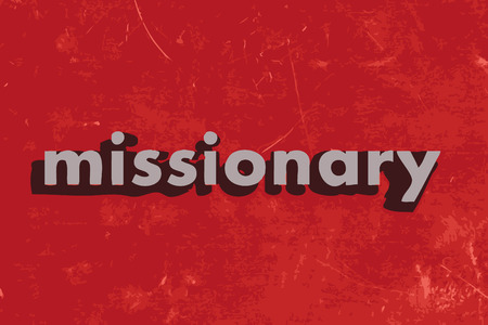 missionary: missionary vector word on red concrete wall