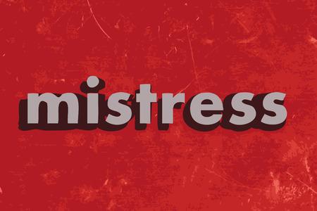 mistress: mistress parola vettore sul muro di cemento rosso Vettoriali