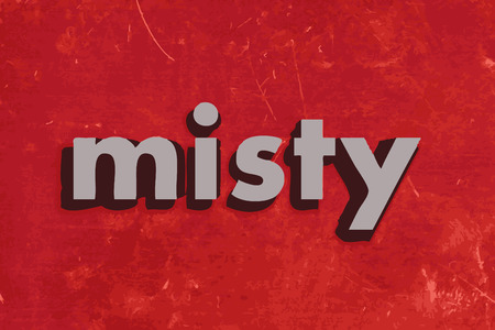 misty: misty vector word on red concrete wall