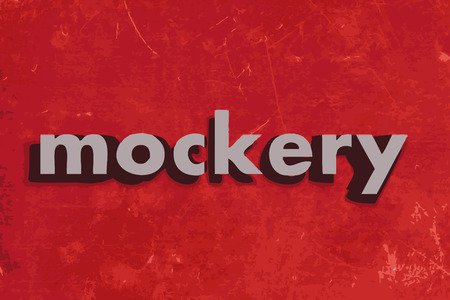 mockery: mockery vector word on red concrete wall