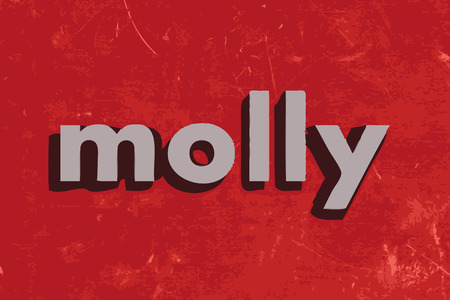 molly: molly vector word on red concrete wall