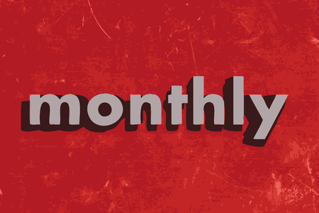 monthly: monthly vector word on red concrete wall Illustration
