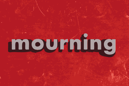 mourn: mourning vector word on red concrete wall