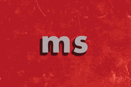 ms: ms vector word on red concrete wall