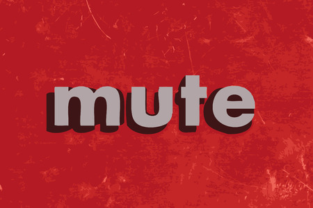 mute: mute vector word on red concrete wall