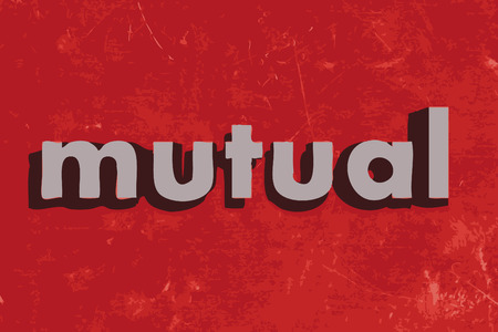mutual: mutual vector word on red concrete wall Illustration