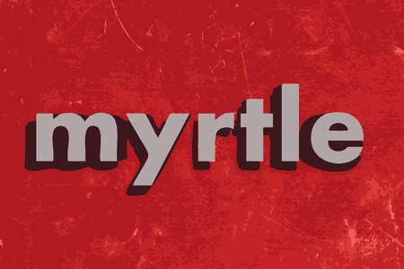 myrtle: myrtle vector word on red concrete wall