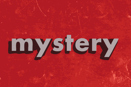 mystery: mystery vector word on red concrete wall