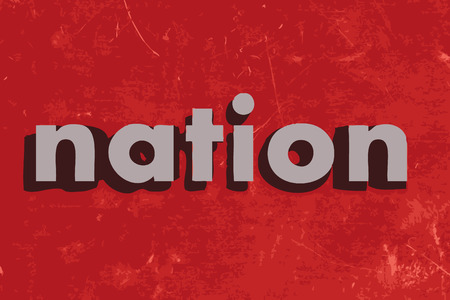 nation: nation vector word on red concrete wall