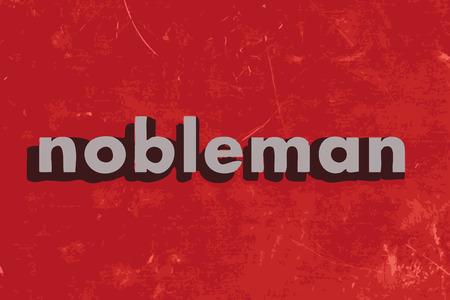 nobleman: nobile parola vettore sul muro di cemento rosso Vettoriali