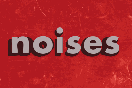noises: noises vector word on red concrete wall