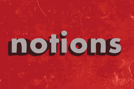 notions: notions vector word on red concrete wall