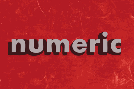 numerics: numeric vector word on red concrete wall Illustration