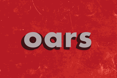 oars: oars vector word on red concrete wall
