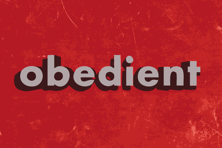 obedient: obedient vector word on red concrete wall