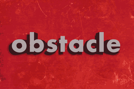 obstacle: obstacle vector word on red concrete wall