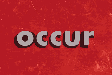occur: occur vector word on red concrete wall