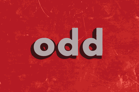 odd: odd vector word on red concrete wall