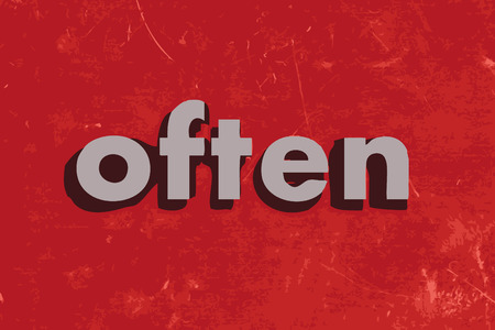 often: often vector word on red concrete wall