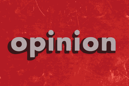 opinion: opinion vector word on red concrete wall