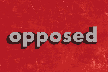 opposed: opposed vector word on red concrete wall