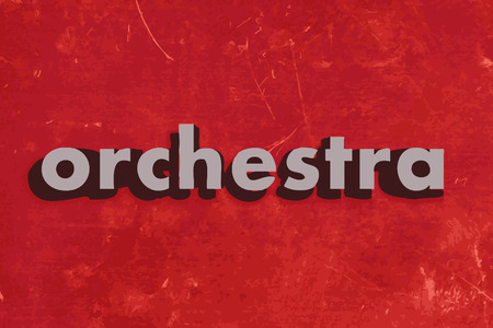 orchestra: orchestra vector word on red concrete wall