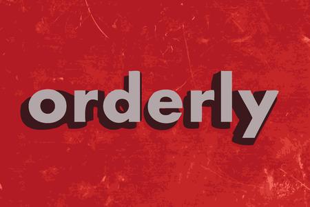 ordelijk: ordelijke vector woord op de rode betonnen muur Stock Illustratie
