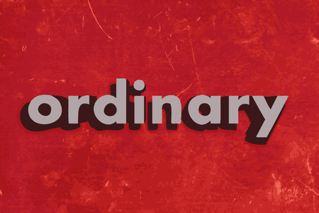 ordinary: ordinary vector word on red concrete wall Illustration