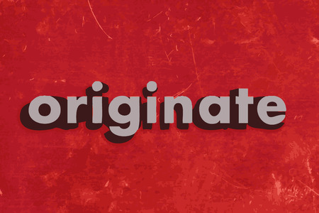 originate: originate vector word on red concrete wall